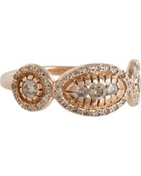 Ileana Makri | Champagne Diamond Pink Gold Triple Solitaire Ring | Lyst