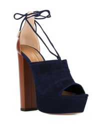 Aquazzura | Blue Very Eugene Leather and Suede Sandals | Lyst
