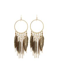 Panacea - Metallic Feather-fringe Hoop Earrings - Lyst
