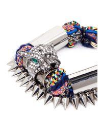 Venna | Multicolor Crystal Jaguar Head Multi-thread Bracelet | Lyst