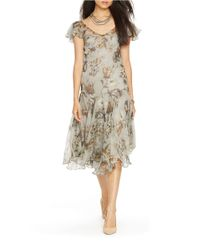 Lauren by Ralph Lauren | Multicolor Dropped-waist Floral Dress | Lyst