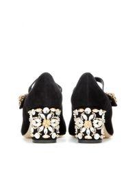 Dolce & Gabbana - Black Embellished Suede Pumps - Lyst