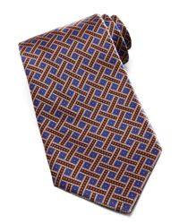 Stefano Ricci - Weave Dot Silk Tie Bluegold for Men - Lyst
