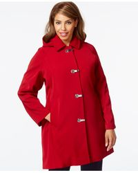 London Fog | Red Plus Size Hooded Clip-front Jacket | Lyst