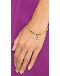 Rebecca Minkoff | Metallic Crystal Imitation Pearl Bracelet - Gold/pearl/clear | Lyst