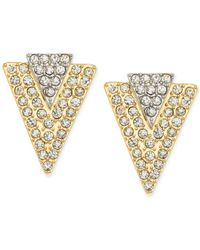 Guess - Metallic Gold-Tone Crystal Pavé Triangle Stud Earrings - Lyst