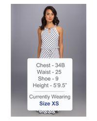 Calvin Klein - Blue Stripe Keyhle Maxi Dress - Lyst