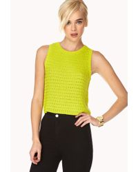 Forever 21 | Yellow Boxy Knit Top | Lyst