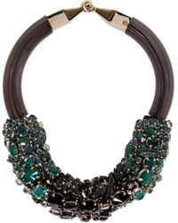 Marni - Green And Black Jewelled Necklace - Lyst
