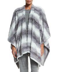 Natori - Gray Reversible Blanket Shawl - Lyst
