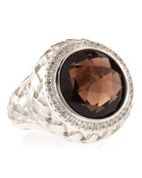 Slane - Brown Smoky Topaz Basket-Weave Ring - Lyst