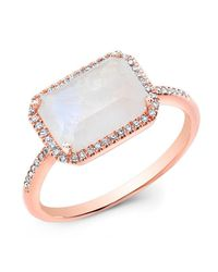 Anne Sisteron | White Chic 14K Moonstone and Diamond Ring  | Lyst