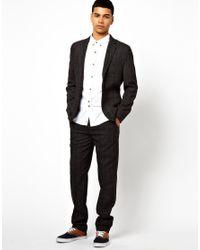 Bellfield - Gray 2 Button Jacket In Herringbone for Men - Lyst