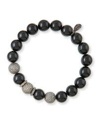Sheryl Lowe | Black 10mm Onyx & Pave Diamond Bracelet | Lyst