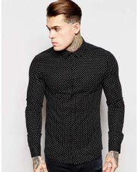 ASOS - Black Skinny Shirt In Long Sleeve With Polka Dot for Men - Lyst