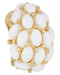 Kenneth Jay Lane | White Goldplated Cabochon Clip Earrings | Lyst