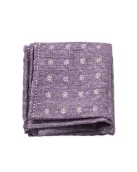 Brunello Cucinelli | Purple Gingham Floral Pocket Square | Lyst