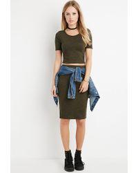 Forever 21 - Green Space Dye Bodycon Skirt - Lyst