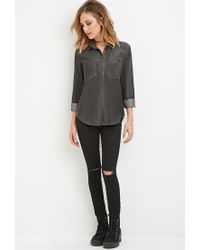 Forever 21 - Gray Chambray Pocket Shirt - Lyst