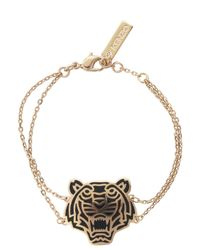 KENZO - Metallic Rose Gold Plated Tiger Bracelet - Lyst
