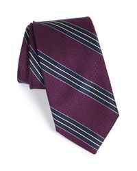 John W. Nordstrom | Purple 'vesuvio' Stripe Silk & Cotton Tie for Men | Lyst