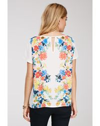 Forever 21 - Multicolor Contemporary Watercolor Floral Chiffon Top - Lyst