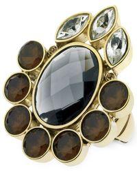 T Tahari | Metallic Gold-tone Mixed Jewels Stretch Statement Ring | Lyst