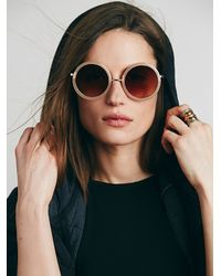 Free People - Natural Twiggy Round Sunglass - Lyst