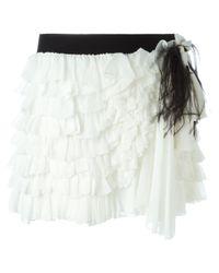 Faith Connexion - White Ruffled Mini Skirt - Lyst