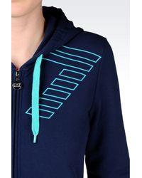 EA7 - Blue 7colours Line Full Zip Hooded Sweatshirt - Lyst