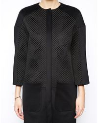ASOS | Black Cocoon Coat with Oversized Mesh Panels | Lyst
