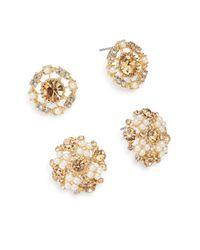 Cara - Metallic Faux Pearl & Crystal Openwork Stud Earring Set - Lyst