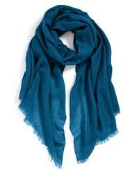 Echo - Blue Solid Wool Wrap - Lyst