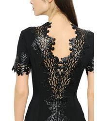 Zuhair Murad - Black Patent Macramé Lace & Cady Dress - Lyst