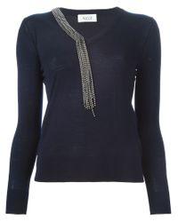 Aviu | Blue Diamanté Embellished Sweater | Lyst
