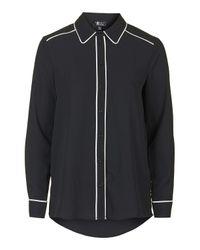 TOPSHOP - Black Contrast '70s Shirt - Lyst