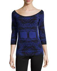 Nicole Miller - Blue Faux-corset Knit Top - Lyst