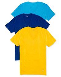 Polo Ralph Lauren | Blue V-neck T-shirt 3-pack for Men | Lyst