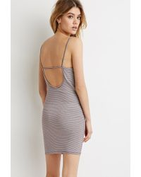 Forever 21 | Gray Striped Cutout-back Dress | Lyst