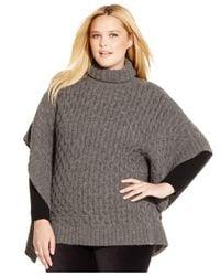 Michael Kors | Gray Michael Plus Size Cable-knit Turtleneck Poncho | Lyst