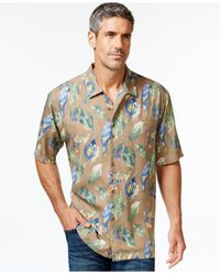 Tommy Bahama | Brown Parrots In Paradise Silk Tropical-print Short-sleeve Shirt for Men | Lyst