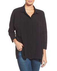 Bobeau | Black Drop Shoulder Blouse | Lyst