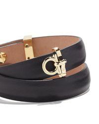 Ferragamo - Metallic Gancini Leather Wrap Bracelet - Lyst
