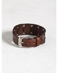 John Varvatos | Brown Sectional Studded Leather Cuff for Men | Lyst
