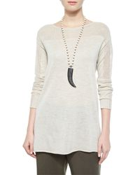 Eileen Fisher | Natural Long-Sleeved Wool Tunic | Lyst