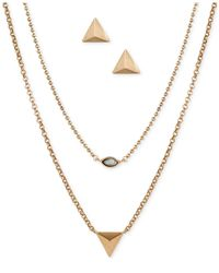 Lucky Brand | Metallic Gold-tone Stud And Semi-precious Stone Jewelry Set | Lyst