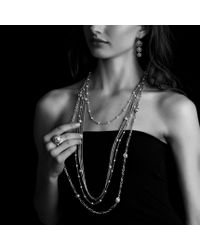 David Yurman - Metallic Chain Necklace with Garnet Beads - Lyst
