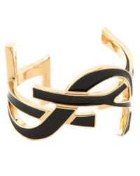 Saint Laurent - Black 'monogram' Bangle - Lyst