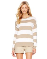 Michael Kors | Natural Michael Striped High-low Sweater | Lyst
