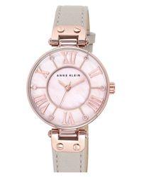 Anne Klein - Pink Crystal Index Leather Strap Watch - Lyst